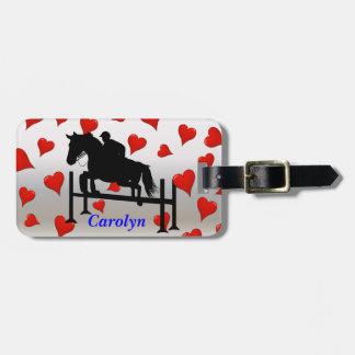 Pretty Hunter Jumper Horse & Rider Luggage Tags