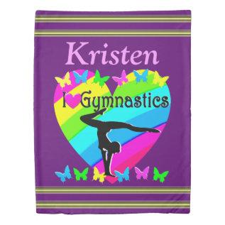 Pretty I Love Gymnastics Personalized Duvet at Zazzle