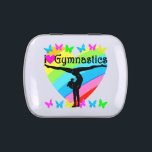 """PRETTY I LOVE GYMNASTICS RAINBOW DESIGN JELLY BELLY CANDY TIN<br><div class=""""desc"""">Pretty rainbow heart I love Gymnastics design. This incredible Gymnast will treasure this striking and motivating women&#39;s Gymnastics design on Tees, jewelry, home decor, wall art and Gifts. This elegant Gymnast is pursuing her goals and dreams to become an International all around Gymnastics Champion. This lovely Gymnastics gift is perfect...</div>"""