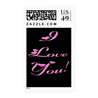 Pretty 'I Love You!' Pink Hearts Postage Stamps