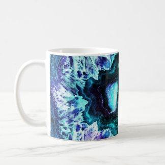 Pretty Icy Turquoise and Purple Geode Crystal Coffee Mug