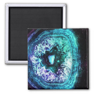 Pretty Icy Turquoise and Purple Geode Crystal Magnet