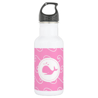 Pretty in Bright Pink Whales Tale and Waves Water Bottle