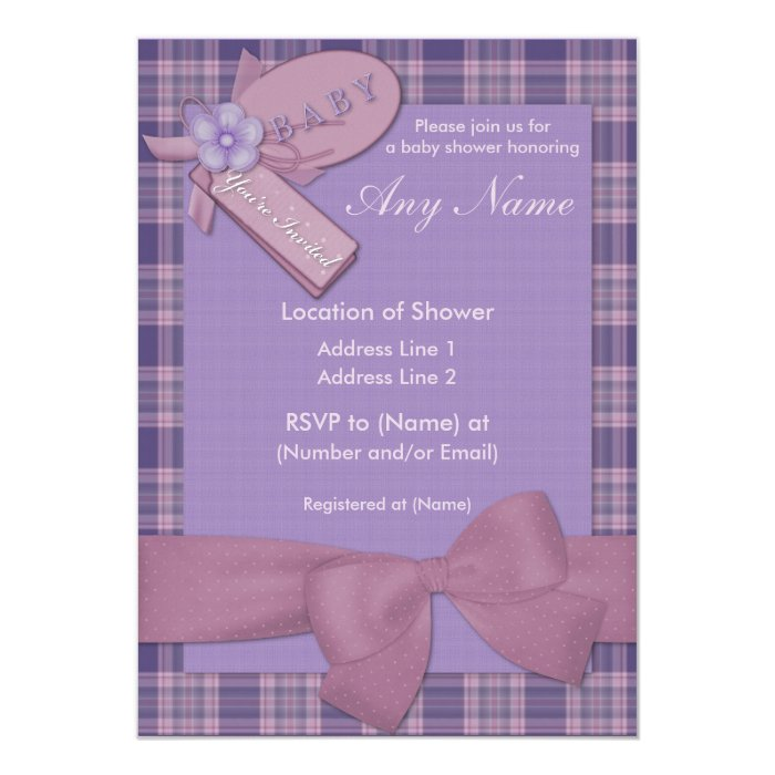 Pretty in Pink and Purple Baby Shower Invitations