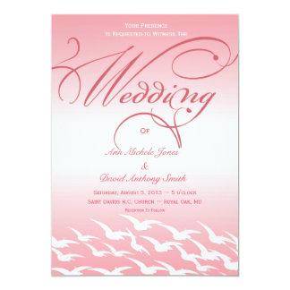 Pretty in Pink and White Bird Wedding Invitation