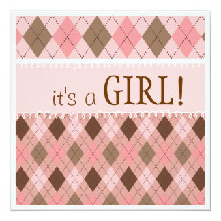 Pretty in Pink Argyle It's a Girl Baby Shower Card