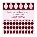 Pretty in Pink Argyle Twin Girl Baby Shower Invitations