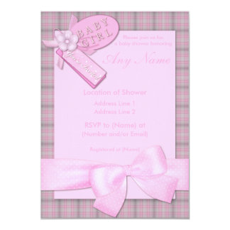 """Pretty in Pink Baby Girl Baby Shower Invitations 5"""" X 7"""" Invitation Card"""