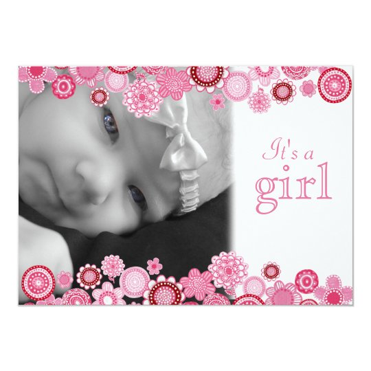 Pretty in Pink Baby Girl Birth Photo Announcement
