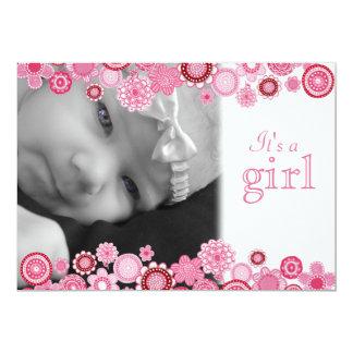 "Pretty in Pink Baby Girl Birth Photo Announcement 5"" X 7"" Invitation Card"