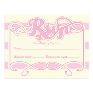 Pretty In Pink Baby Shower, RSVP Cards