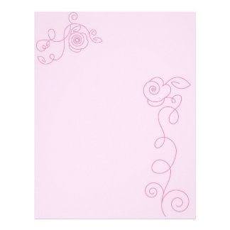 Pretty in Pink ~ Blank Floral Page Letterhead