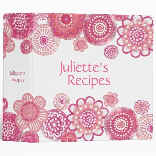 Pretty in Pink Blossoms Recipe Book Binder
