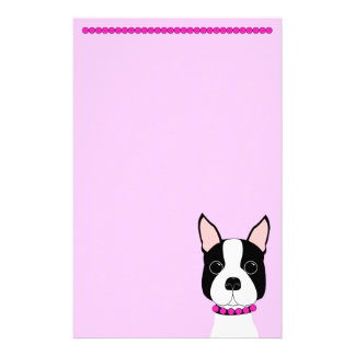 Pretty in Pink Boston Terrier Stationery