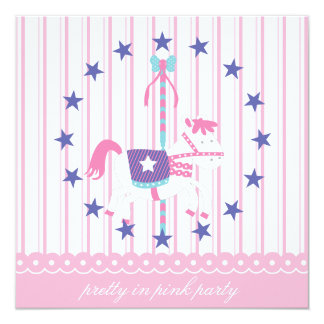 Pretty in Pink Carousel Birthday Party Invitation