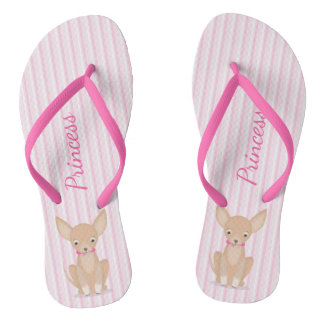 Pretty in Pink Chihuahua Flip Flops