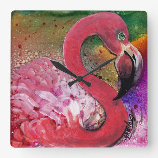 PRETTY IN PINK flamingo bag design by GG Burns Square Wall Clock
