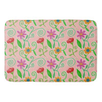 Pretty in Pink Floral Arrangement With Red Roses Bath Mat