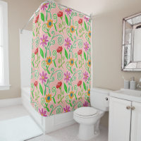 Pretty in Pink Floral Arrangement With Red Roses Shower Curtain