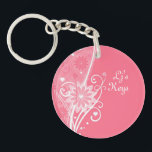 """Pretty in Pink Floral Key Chain<br><div class=""""desc"""">Swirls, hearts, flowers, lines and dots on this pastel pink girly girl key chain. Oblong - Round in shape. Add a picture or image with some text on the back and customize the monogram on the front too.. Whatever you want. Email me here if you need help with this or...</div>"""