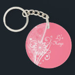 "Pretty in Pink Floral Key Chain<br><div class=""desc"">Swirls, hearts, flowers, lines and dots on this pastel pink girly girl key chain. Oblong - Round in shape. Add a picture or image with some text on the back and customize the monogram on the front too.. Whatever you want. Email me here if you need help with this or...</div>"
