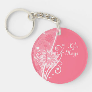 Pretty in Pink Floral Key Chain