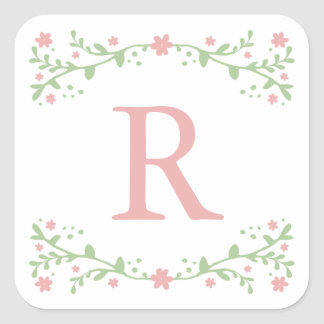 Pretty in Pink Floral Monogram Stickers