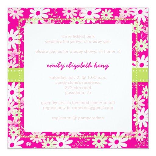 Pretty in Pink Garden baby shower 5.25x5.25 Square Paper Invitation Card