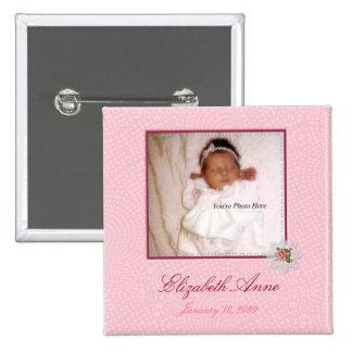 Pretty In Pink Girly Photo Birth Announcement 2 Inch Square Button