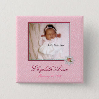 Pretty In Pink Girly Photo Birth Announcement Button