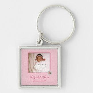 Pretty In Pink Girly Photo Birth Announcement Keychain