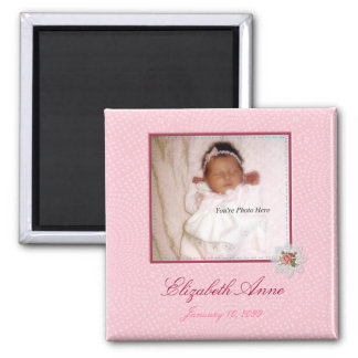 Pretty In Pink Girly Photo Birth Announcement Magnet