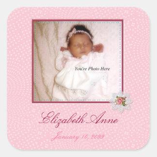 Pretty In Pink Girly Photo Birth Announcement Square Sticker