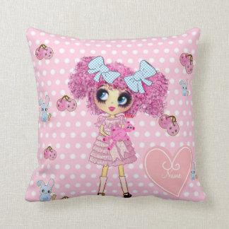 Pretty in Pink Kawaii Girl PinkyP Throw Pillow