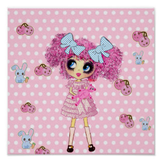 Pretty in Pink Kawaii Girl PinkyP Poster