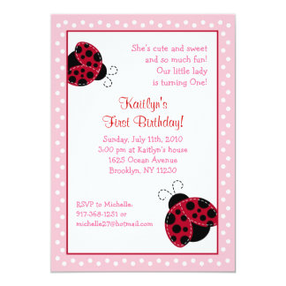 Pretty in Pink Ladybug Birthday Invitations