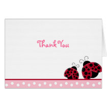 Pretty in Pink Ladybug Folded Note Cards
