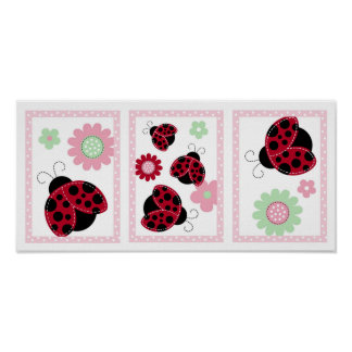 Pretty in Pink Ladybug Nursery Wall Art Print