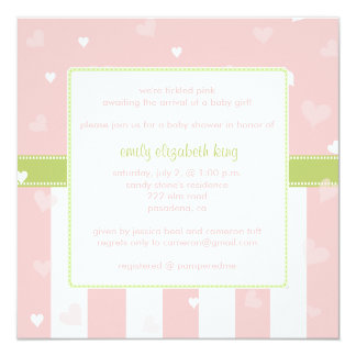 Pretty in Pink Little Hearts baby shower Card