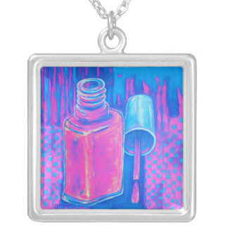 Pretty in Pink Nail Polish Square Pendant Necklace