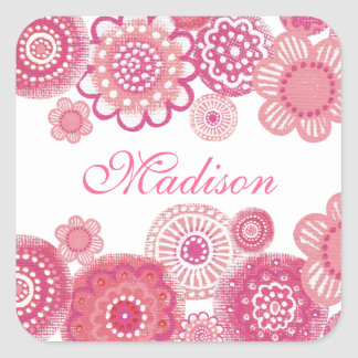 Pretty in Pink Painted Girls Name Square Sticker