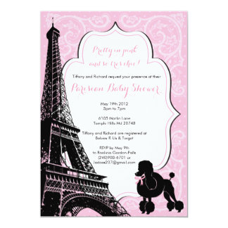 PRETTY IN PINK - Paris themed Baby Shower Invite
