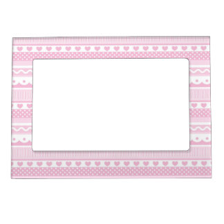 Pretty in Pink Pattern Magnetic Photo Frame