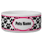 Pretty in Pink Paw Print Personalized Dog Bowl