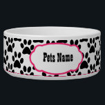 "Pretty in Pink Paw Print Personalized Dog Bowl<br><div class=""desc"">Pink and Black Paw Pink Designer Your Dog&#39;s Personalized Custom Pet Bowl in a Cute Black and Pink Paw Print</div>"