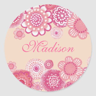 Pretty in Pink & Peach Painted Girls Name Label Classic Round Sticker