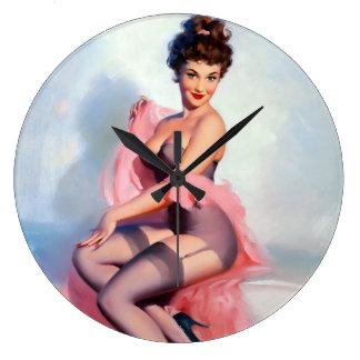 Pretty in Pink Pin Up Wall Clocks