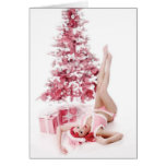 Pretty In Pink PinUp Girl Christmas Greeeting Card