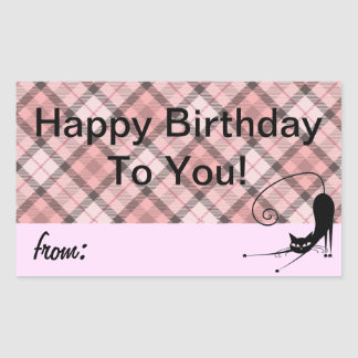 Pretty in Pink Plaid Birthday Gift Labels Stickers
