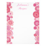 Pretty in Pink Recipe Binder Insert Letter Pages Letterhead Template